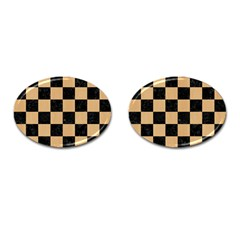 Square1 Black Marble & Natural White Birch Wood Cufflinks (oval) by trendistuff