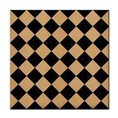 Square2 Black Marble & Natural White Birch Wood Tile Coasters