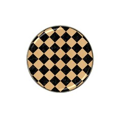 Square2 Black Marble & Natural White Birch Wood Hat Clip Ball Marker by trendistuff