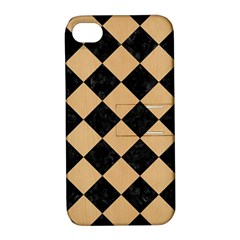Square2 Black Marble & Natural White Birch Wood Apple Iphone 4/4s Hardshell Case With Stand by trendistuff