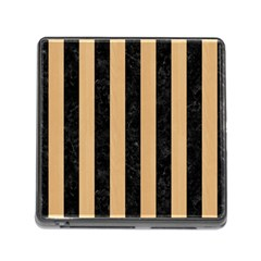 Stripes1 Black Marble & Natural White Birch Wood Memory Card Reader (square) by trendistuff