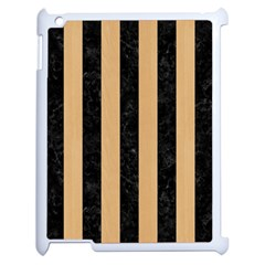 Stripes1 Black Marble & Natural White Birch Wood Apple Ipad 2 Case (white) by trendistuff