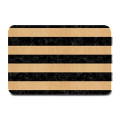 Stripes2 Black Marble & Natural White Birch Wood Plate Mats by trendistuff