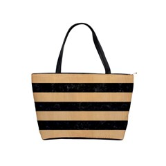 Stripes2 Black Marble & Natural White Birch Wood Shoulder Handbags by trendistuff