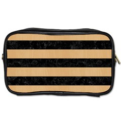 Stripes2 Black Marble & Natural White Birch Wood Toiletries Bags by trendistuff