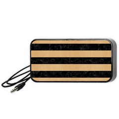 Stripes2 Black Marble & Natural White Birch Wood Portable Speaker by trendistuff