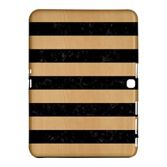 Stripes2 Black Marble & Natural White Birch Wood Samsung Galaxy Tab 4 (10 1 ) Hardshell Case  by trendistuff