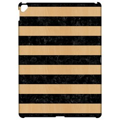 Stripes2 Black Marble & Natural White Birch Wood Apple Ipad Pro 12 9   Hardshell Case by trendistuff
