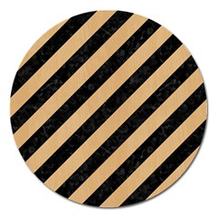 Stripes3 Black Marble & Natural White Birch Wood Magnet 5  (round) by trendistuff