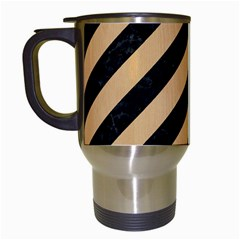 Stripes3 Black Marble & Natural White Birch Wood Travel Mugs (white) by trendistuff
