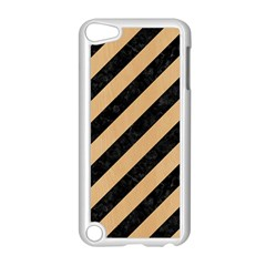 Stripes3 Black Marble & Natural White Birch Wood Apple Ipod Touch 5 Case (white) by trendistuff