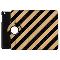 Stripes3 Black Marble & Natural White Birch Wood Apple Ipad Mini Flip 360 Case by trendistuff