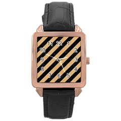 Stripes3 Black Marble & Natural White Birch Wood Rose Gold Leather Watch  by trendistuff