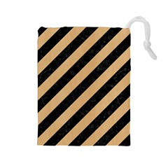 Stripes3 Black Marble & Natural White Birch Wood Drawstring Pouches (large)  by trendistuff