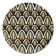 Art Deco Gold Black Shell Pattern Magnet 5  (round) by 8fugoso