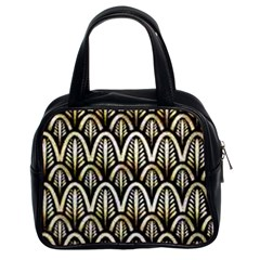 Art Deco Gold Black Shell Pattern Classic Handbags (2 Sides) by 8fugoso