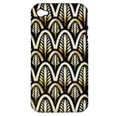Art Deco Gold Black Shell Pattern Apple Iphone 4/4s Hardshell Case (pc+silicone) by 8fugoso