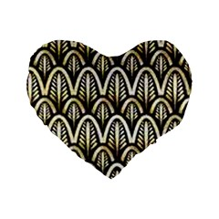 Art Deco Gold Black Shell Pattern Standard 16  Premium Heart Shape Cushions by 8fugoso