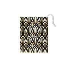 Art Deco Gold Black Shell Pattern Drawstring Pouches (xs)  by 8fugoso