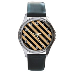 Stripes3 Black Marble & Natural White Birch Wood (r) Round Metal Watch by trendistuff
