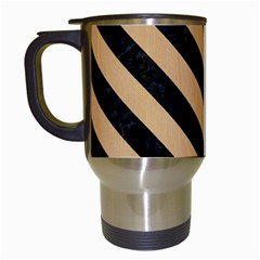 Stripes3 Black Marble & Natural White Birch Wood (r) Travel Mugs (white) by trendistuff