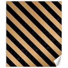 Stripes3 Black Marble & Natural White Birch Wood (r) Canvas 20  X 24   by trendistuff
