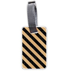 Stripes3 Black Marble & Natural White Birch Wood (r) Luggage Tags (one Side)  by trendistuff