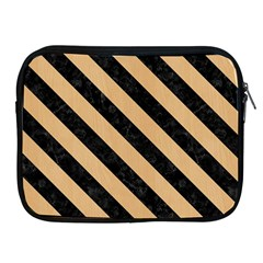 Stripes3 Black Marble & Natural White Birch Wood (r) Apple Ipad 2/3/4 Zipper Cases by trendistuff