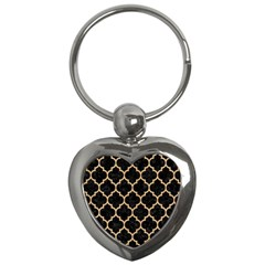 Tile1 Black Marble & Natural White Birch Wood Key Chains (heart)  by trendistuff