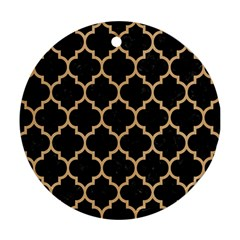 Tile1 Black Marble & Natural White Birch Wood Round Ornament (two Sides) by trendistuff
