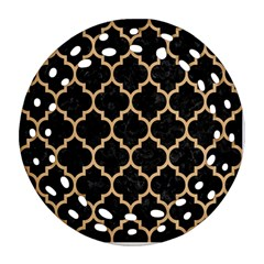 Tile1 Black Marble & Natural White Birch Wood Ornament (round Filigree) by trendistuff