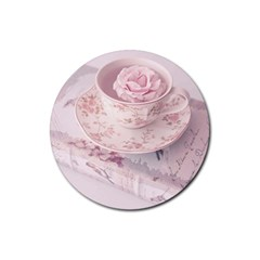 Shabby Chic High Tea Rubber Coaster (round)  by 8fugoso