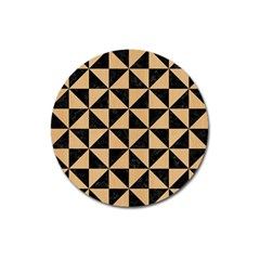 Triangle1 Black Marble & Natural White Birch Wood Magnet 3  (round) by trendistuff