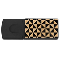 Triangle1 Black Marble & Natural White Birch Wood Rectangular Usb Flash Drive