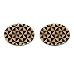 Triangle1 Black Marble & Natural White Birch Wood Cufflinks (oval) by trendistuff