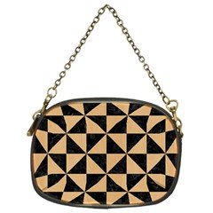 Triangle1 Black Marble & Natural White Birch Wood Chain Purses (one Side)  by trendistuff