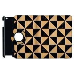 Triangle1 Black Marble & Natural White Birch Wood Apple Ipad 2 Flip 360 Case by trendistuff