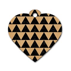 Triangle2 Black Marble & Natural White Birch Wood Dog Tag Heart (one Side) by trendistuff