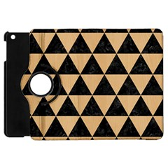 Triangle3 Black Marble & Natural White Birch Wood Apple Ipad Mini Flip 360 Case by trendistuff
