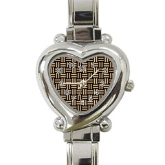 Woven1 Black Marble & Natural White Birch Wood Heart Italian Charm Watch by trendistuff