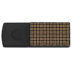 Woven1 Black Marble & Natural White Birch Wood Rectangular Usb Flash Drive by trendistuff