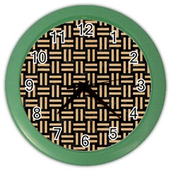 Woven1 Black Marble & Natural White Birch Wood Color Wall Clocks by trendistuff