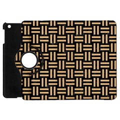 Woven1 Black Marble & Natural White Birch Wood Apple Ipad Mini Flip 360 Case by trendistuff