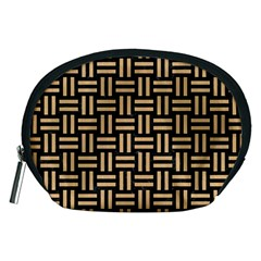Woven1 Black Marble & Natural White Birch Wood Accessory Pouches (medium)