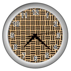 Woven1 Black Marble & Natural White Birch Wood (r) Wall Clocks (silver)  by trendistuff