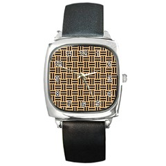 Woven1 Black Marble & Natural White Birch Wood (r) Square Metal Watch by trendistuff