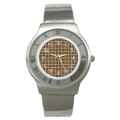 Woven1 Black Marble & Natural White Birch Wood (r) Stainless Steel Watch by trendistuff