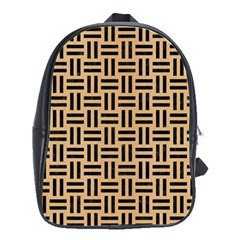 Woven1 Black Marble & Natural White Birch Wood (r) School Bag (large) by trendistuff