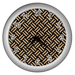 Woven2 Black Marble & Natural White Birch Wood Wall Clocks (silver)  by trendistuff