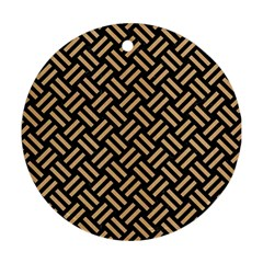 Woven2 Black Marble & Natural White Birch Wood Round Ornament (two Sides) by trendistuff